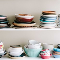 Multi Colored Dishes Stacked