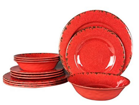 Cracked Rustic Red Plates. This 12 Piece Dinnerware Set ...