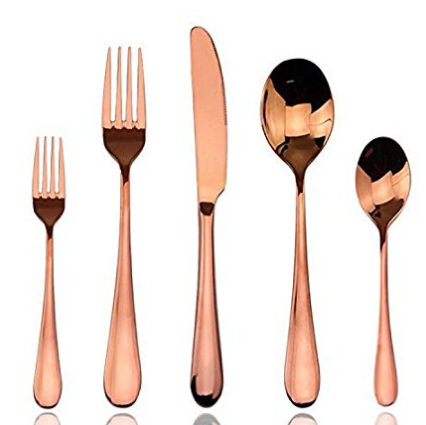 Trendy Rose Gold Flatware Kitchen Accessories Skillet Love