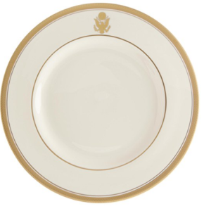 Rd White And Gold Plate