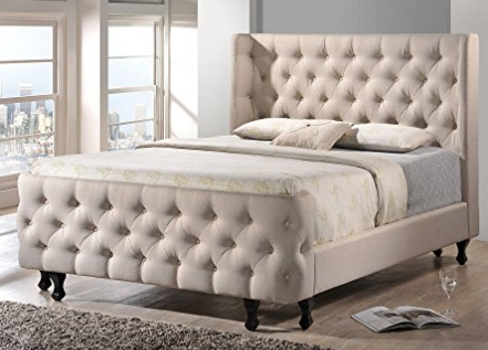 White Tufted King Headboard Footboard